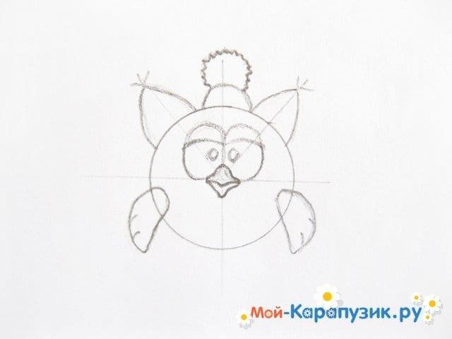 Поэтапное рисование Совуньи из смешариков цветными карандашами - фото 7