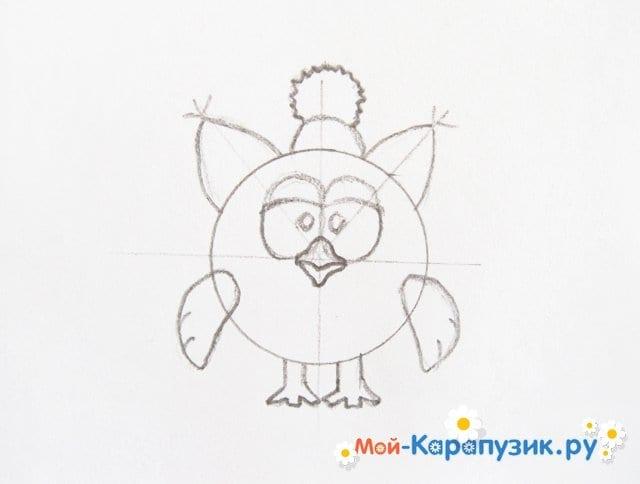 Поэтапное рисование Совуньи из смешариков цветными карандашами - фото 8