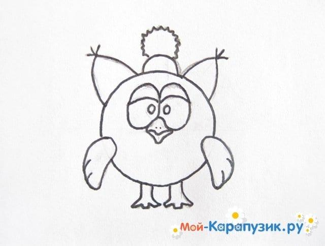 Поэтапное рисование Совуньи из смешариков цветными карандашами - фото 9