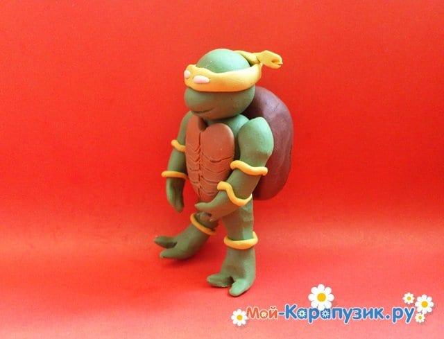 Лепка черепашки-ниндзя из пластилина - фото 11