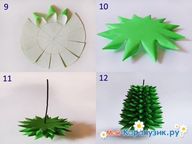 Изготовление елочки из бумаги - фото 3