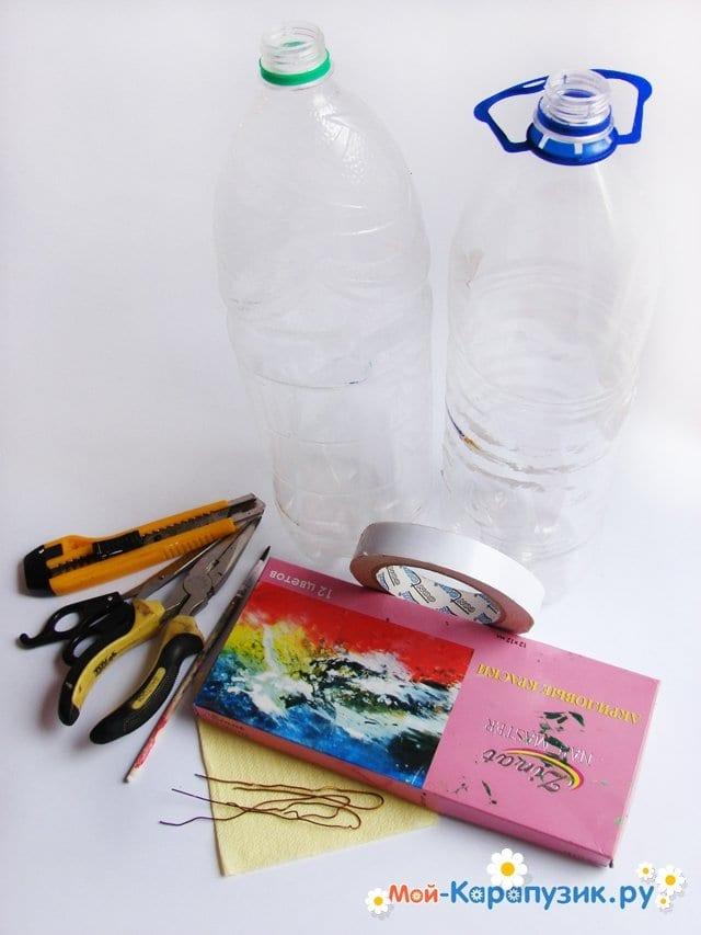 Изготовление ежика из пластиковых бутылок - фото 1