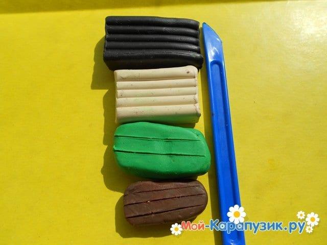 Лепка черепахи из пластилина - фото 1