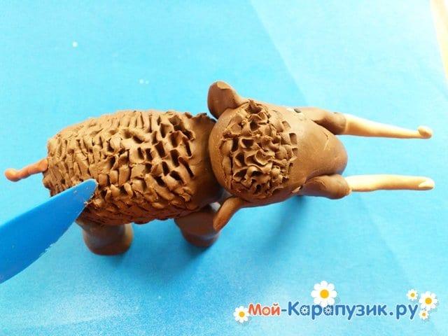 Лепка мамонта из пластилина - фото 11
