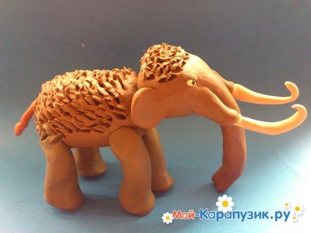 Лепка мамонта из пластилина - фото 12