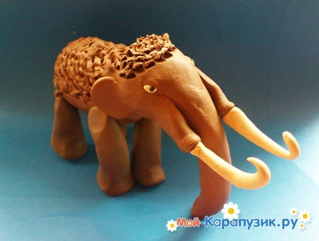 Лепка мамонта из пластилина - фото 14