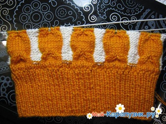 Вязание шапки с помпоном спицами - фото 11