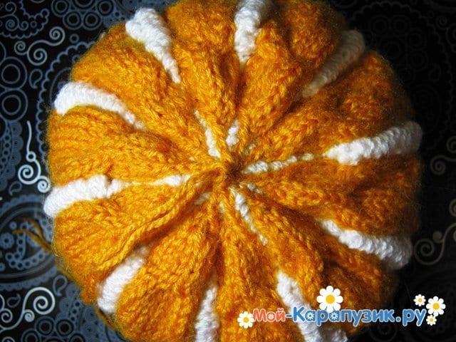 Вязание шапки с помпоном спицами - фото 23