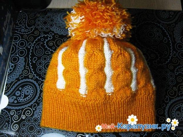 Вязание шапки с помпоном спицами - фото 30