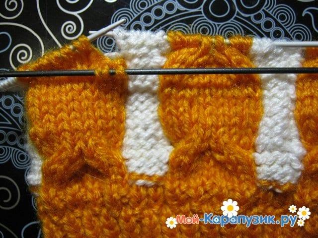 Вязание шапки с помпоном спицами - фото 4