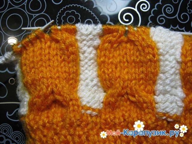 Вязание шапки с помпоном спицами - фото 7
