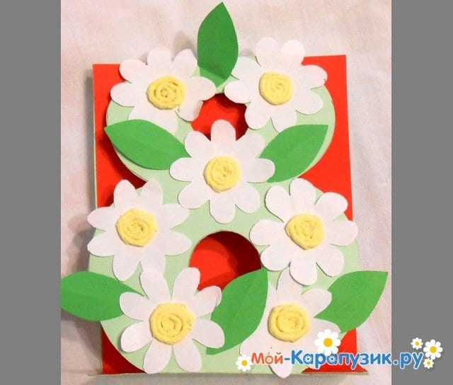 Поделки цветов на 8 Марта в детский сад - фото 18