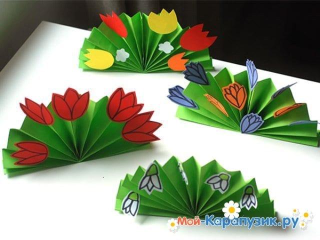 Поделки цветов на 8 Марта в детский сад - фото 3