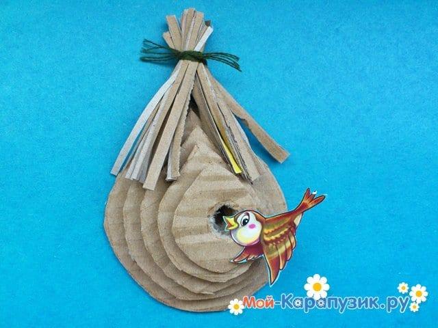 Поделка гнезда для птиц из картона - фото 6