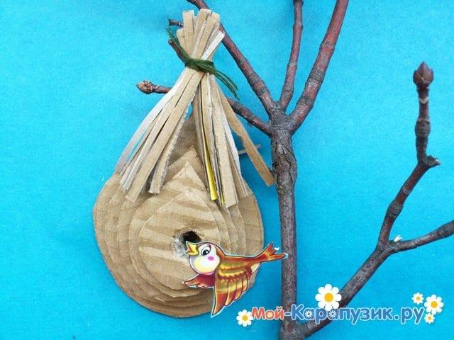 Поделка гнезда для птиц из картона - фото 7