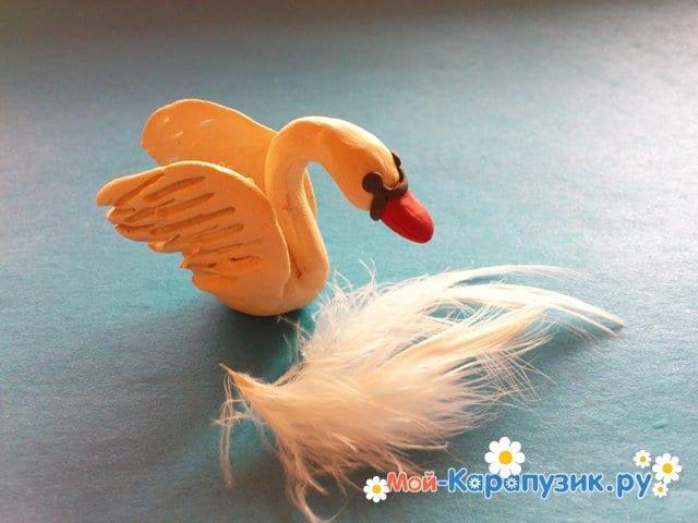 Лепка лебедя из пластилина - фото 10
