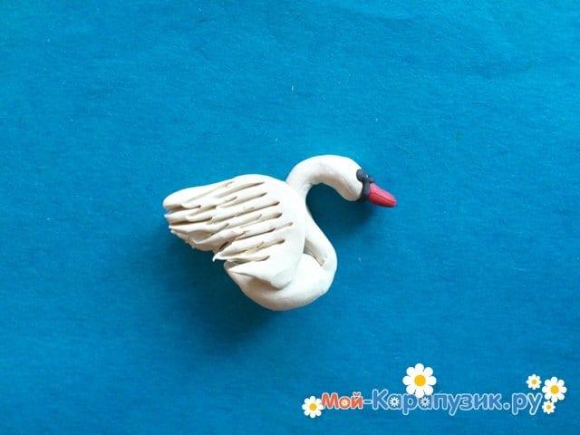 Лепка лебедя из пластилина - фото 8
