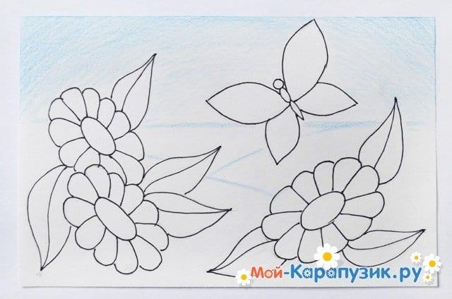 Поэтапное рисование лета цветными карандашами - фото 10