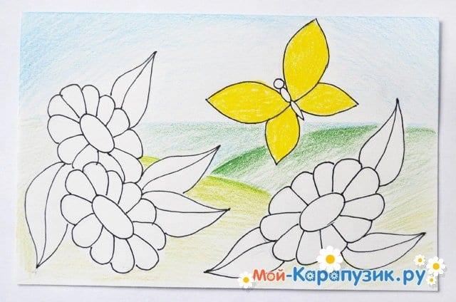Поэтапное рисование лета цветными карандашами - фото 12