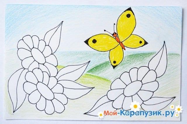Поэтапное рисование лета цветными карандашами - фото 13