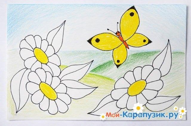 Поэтапное рисование лета цветными карандашами - фото 14