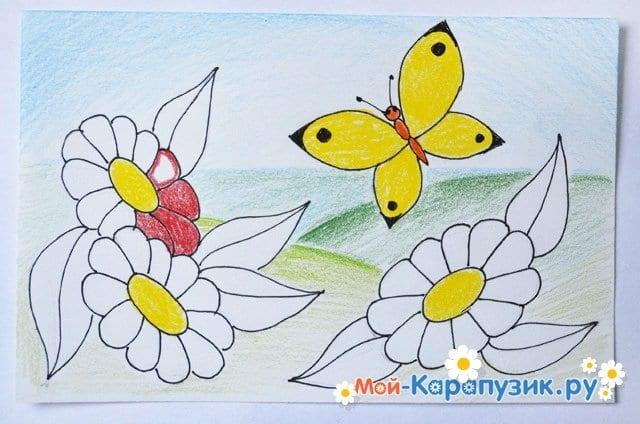 Поэтапное рисование лета цветными карандашами - фото 15