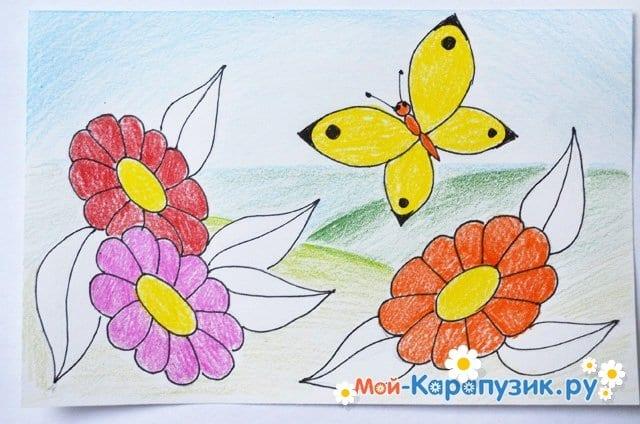 Поэтапное рисование лета цветными карандашами - фото 16
