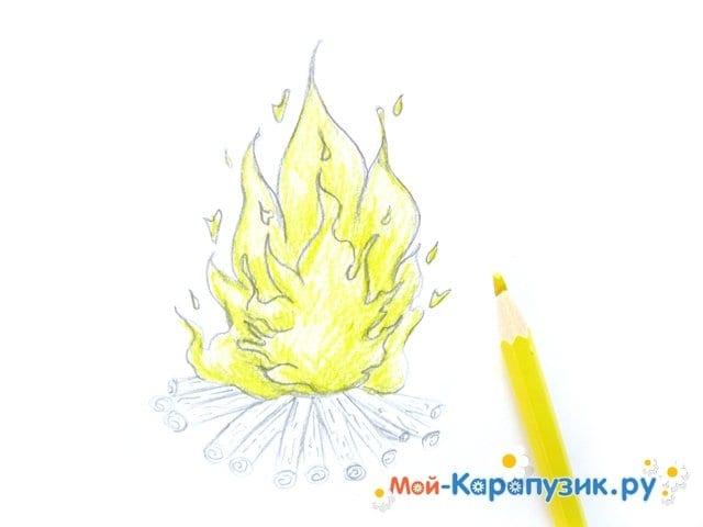 Поэтапное рисование огня цветными карандашами - фото 10