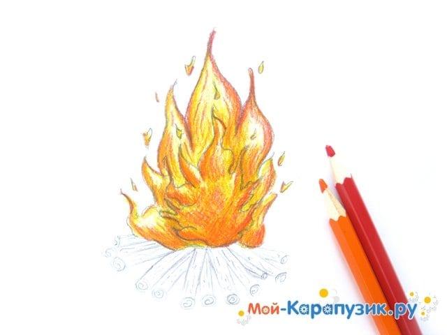 Поэтапное рисование огня цветными карандашами - фото 11