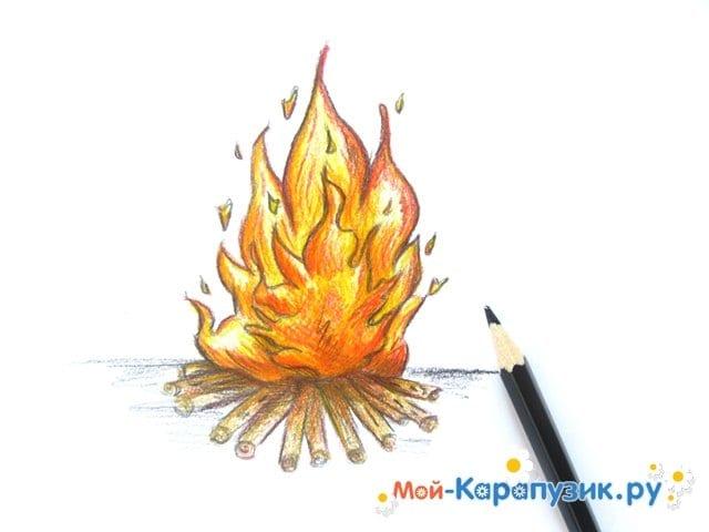 Поэтапное рисование огня цветными карандашами - фото 14