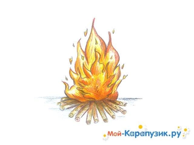 Поэтапное рисование огня цветными карандашами - фото 15