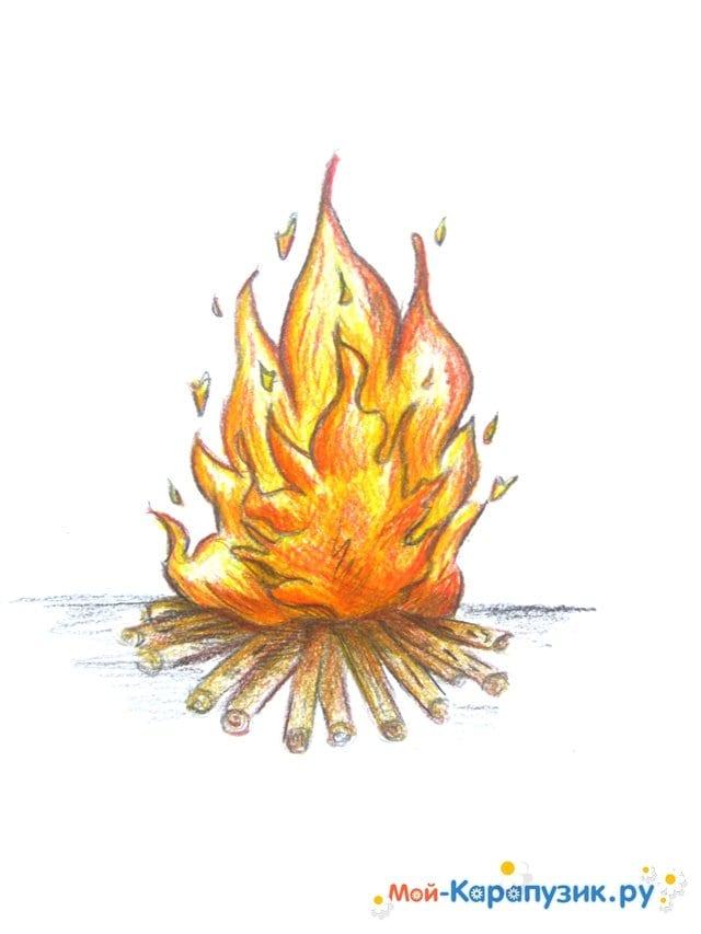 Поэтапное рисование огня цветными карандашами - фото 16