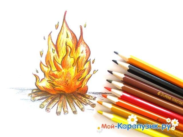 Поэтапное рисование огня цветными карандашами - фото 17