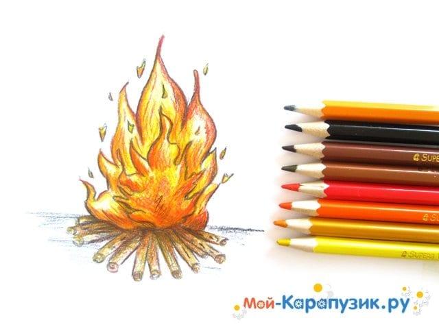 Поэтапное рисование огня цветными карандашами - фото 18