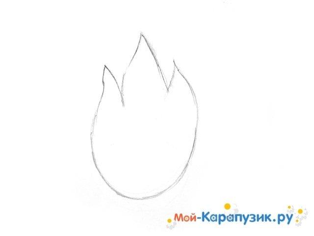 Поэтапное рисование огня цветными карандашами - фото 4