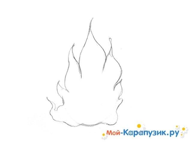 Поэтапное рисование огня цветными карандашами - фото 5