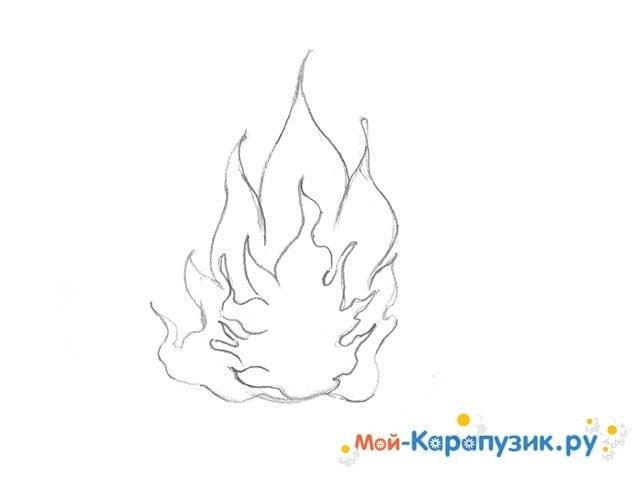 Поэтапное рисование огня цветными карандашами - фото 6