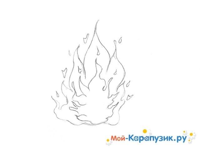 Поэтапное рисование огня цветными карандашами - фото 7