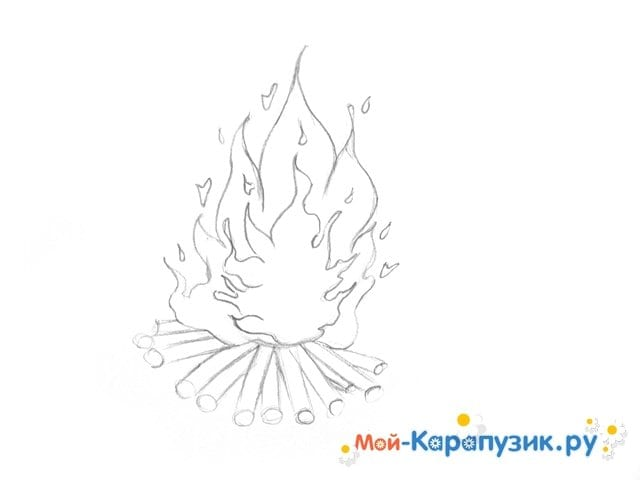 Поэтапное рисование огня цветными карандашами - фото 8