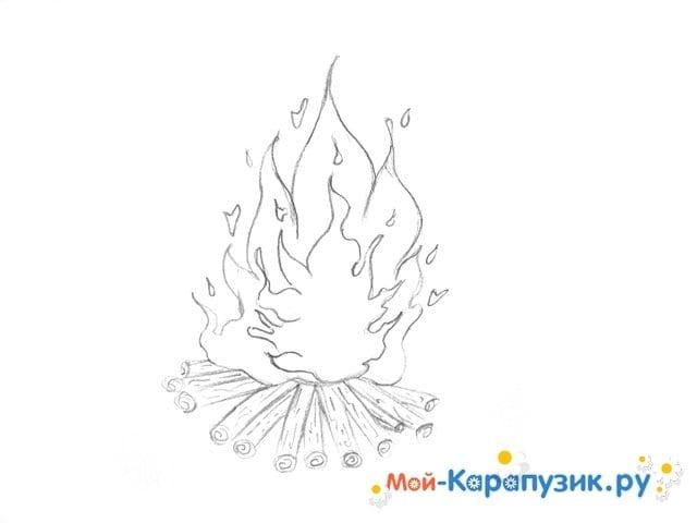 Поэтапное рисование огня цветными карандашами - фото 9