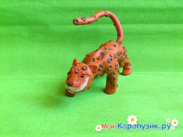 Пошаговая лепка леопарда из пластилина - фото 15