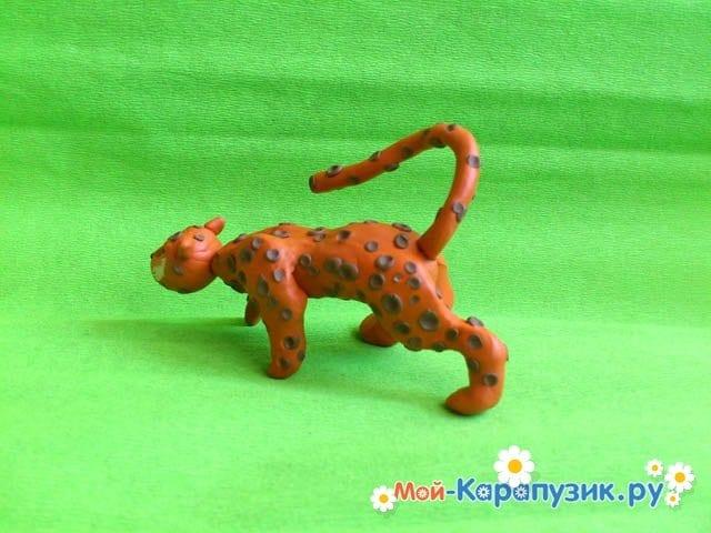 Пошаговая лепка леопарда из пластилина - фото 17