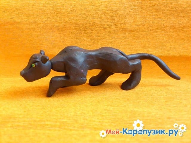Лепка пантеры из пластилина - фото 10