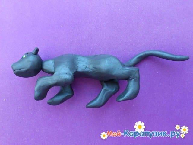 Лепка пантеры из пластилина - фото 8