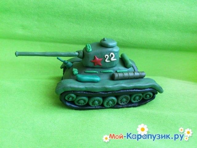 Пошаговая лепка танка Т-34 из пластилина - фото 11