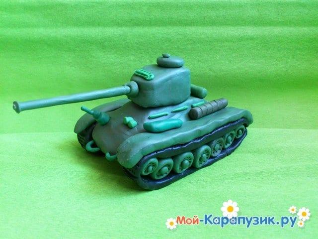 Пошаговая лепка танка Т-34 из пластилина - фото 9